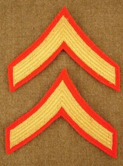 Lot 2 US Marine Private Rank Insignia Post-WW2 Patches