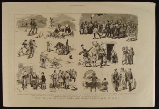Antique English Midshipmen Print The Graphic 1880