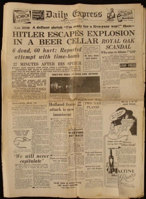 Hitler Escapes: Daily Express UK Newspaper WWII 1939
