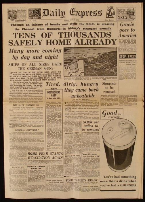 France BEF Dunkirk WWII Daily Express UK Newspaper