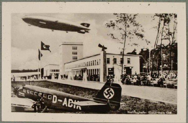 Nazi Military WWII Vintage Postcard Zeppelin, Plane