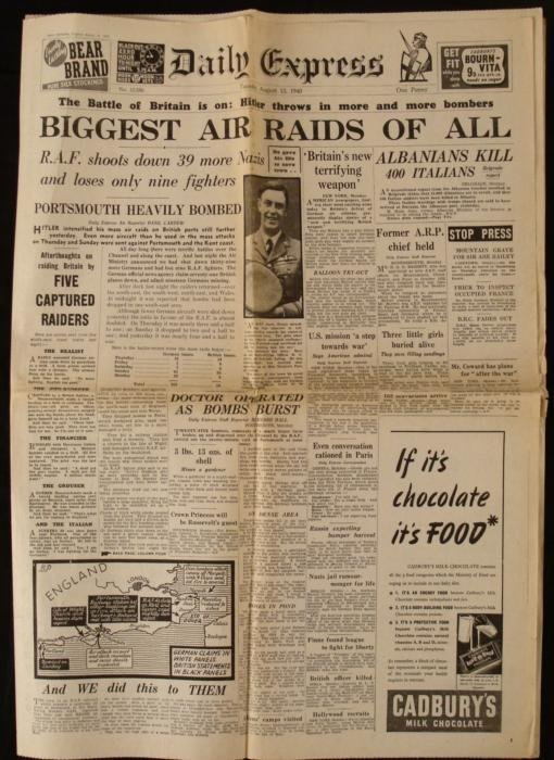 Battle of Britain WWII Daily Express UK Newspaper 1940