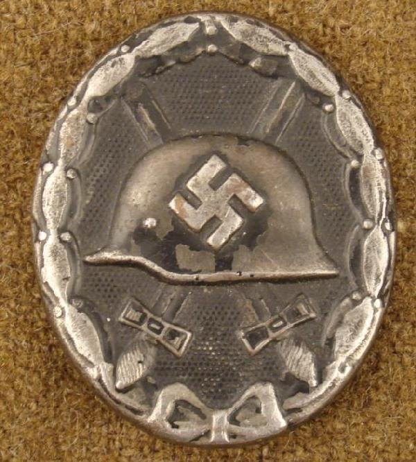 WWII Nazi Black Wound Badge Pin Back Pressed Metal