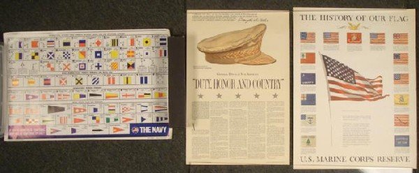 3 Military Vintage Posters Navy, Flag, Army MacArthur