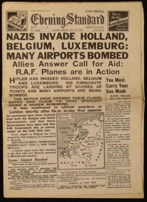 Nazis Invade Holland, Belgium UK Newspaper WWII 1940