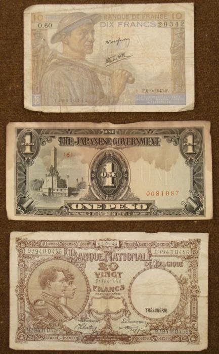 VINTAGE CURRENCY-2 FRENCH & 1 JAPANESE/PHILIPPINE OCC