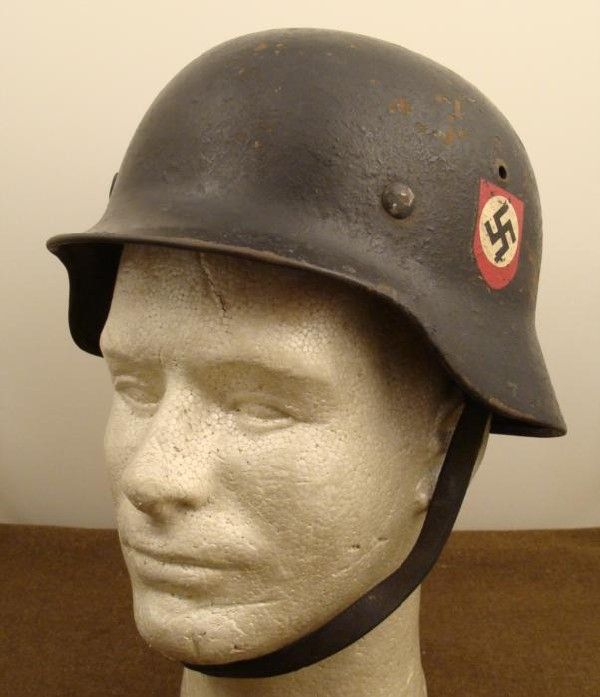 WWII NAZI SS DOUBLE DECAL HELMET-FULL LINER & CHINSTRAP