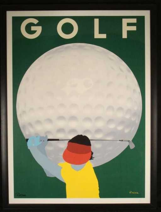 Razzia Signed Golf Art Deco Large Framed Vintage Poster