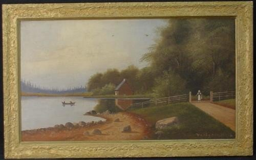 Original Rustic Landscape Oil Painting Signed Framed