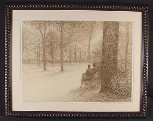 1976 Altman Original Conte Drawing SEATED COUPLE Framed