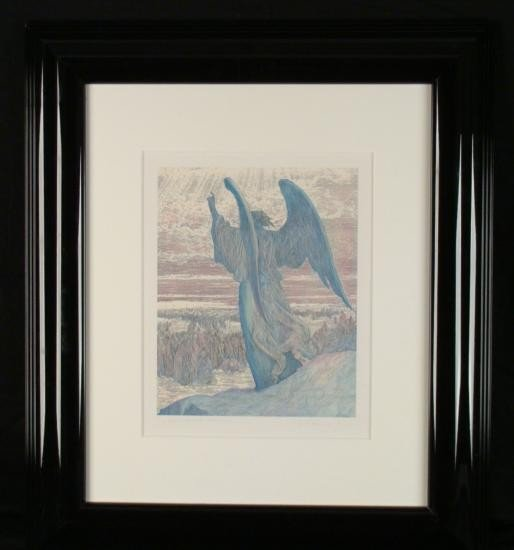 Guillaume Azoulay Original Etching Watercolor Joshua