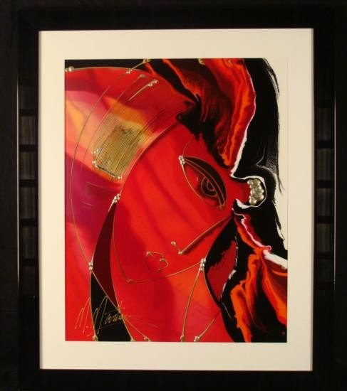 Martiros Manoukian Signed Mixed Med Print Abstract Girl