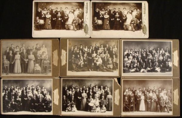 8 Antique Cabinet Card Photographs Wedding Party Group