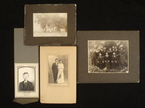4 Antique Photographs Portraits House 1900s