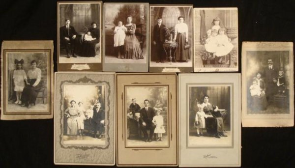 9 Antique Cabinet Card Photographs 1890s Women Children