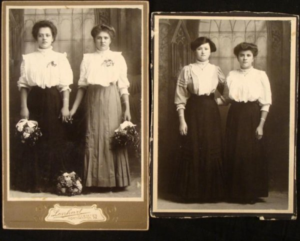 2 Antique Cabinet Card Photograph 1890s 2 Women Sisters