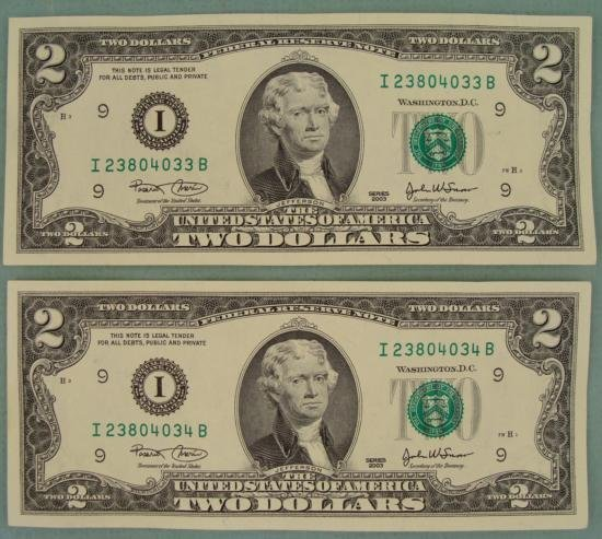 2 Consec # CU 2003 $2 Bills Notes I Mint Minneapolis