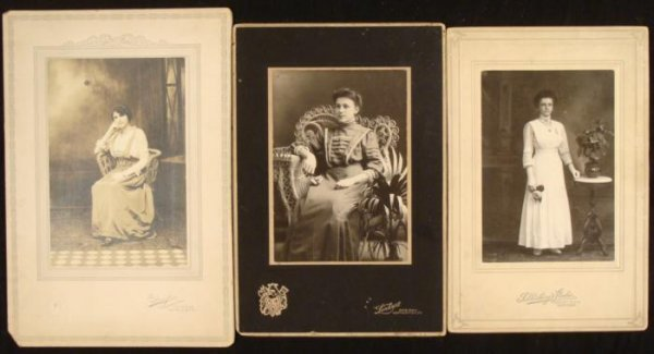 3 Antique Turn of Century Portrait Photographs: Women