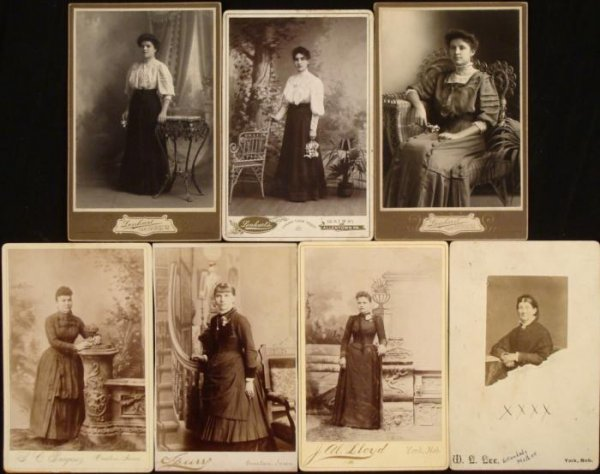 7 Antique Cabinet Card Photographs: Women 1880s