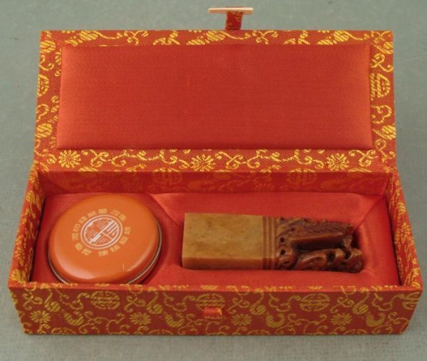 Chinese Dragon Wax Seal Vintage Soapstone in Box