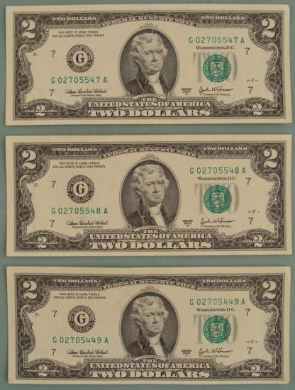 3 Consecutive # 2003 A $2 Bills Notes G Mint Chicago CU