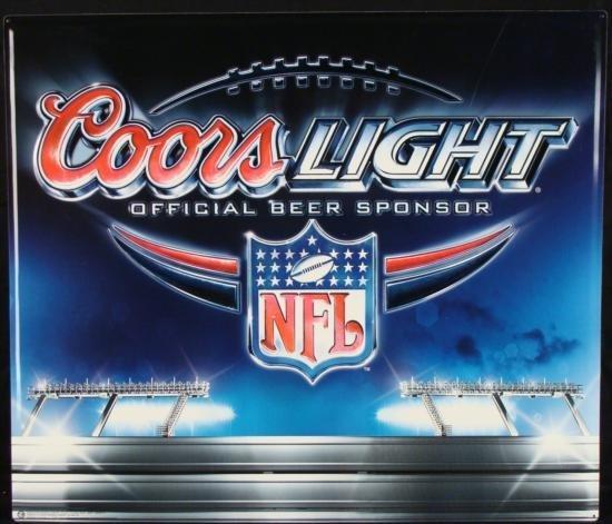 Coors Light NFL Logo Metal Tin Football Beer Bar Sign