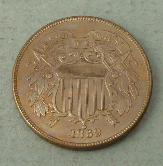 1869 Uncirculated 2 Cent Coin- Its a Beauty!
