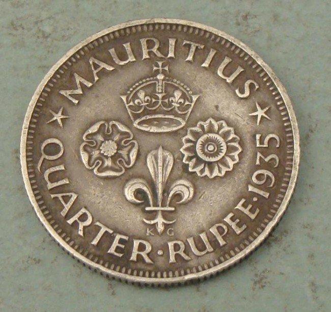 Mauritius 1/4 Rupee 1935 Silver Coin