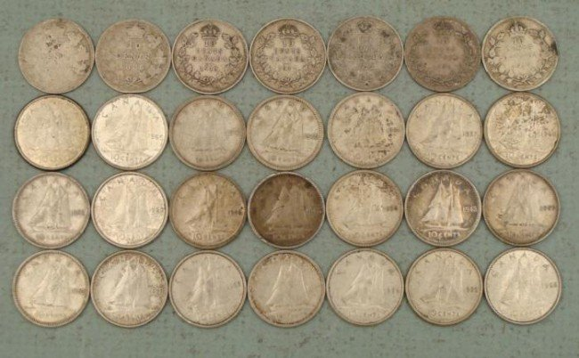 28 Diff Date Canada 10 Cent Silver Dimes Starter Set