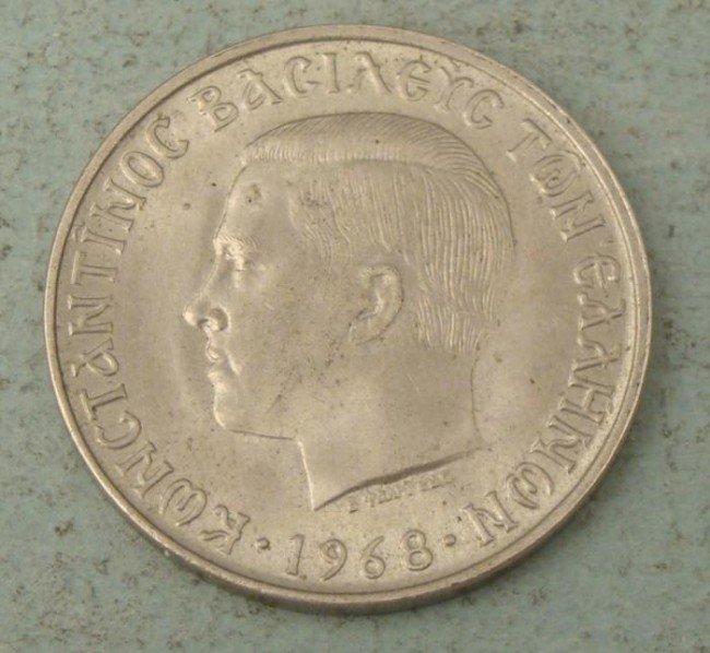 Greece 1968 10 Drachma AU Large Coin