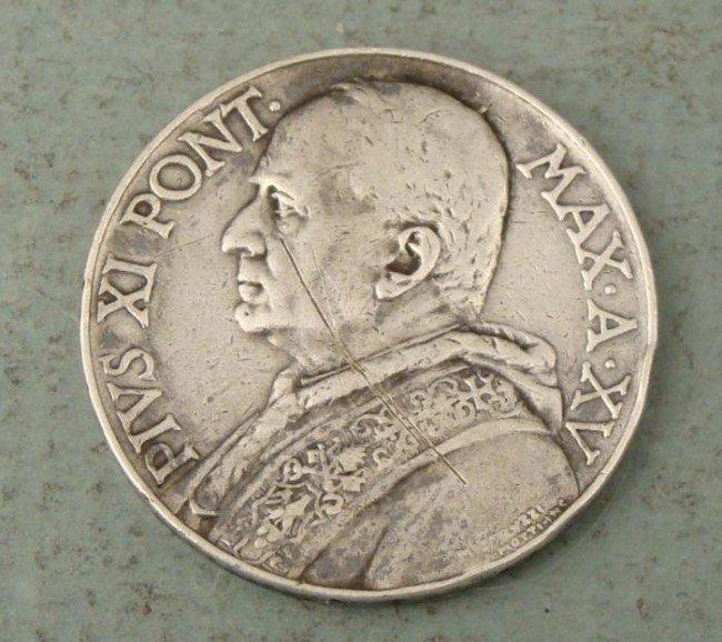 Hi Grade Vatican City Silver 10 Lire Coin 1936