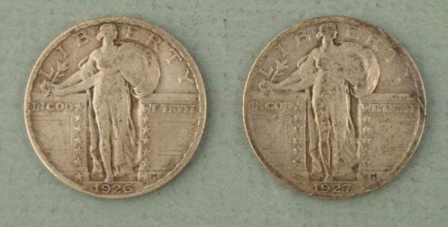 2 Full Date Standing Liberty Silver Quarters 1926-27