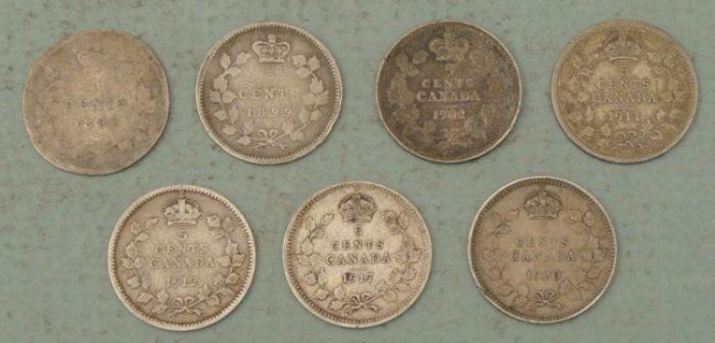 7 Diff Date Early Canada Silver Small 5 Cent 1888-1920