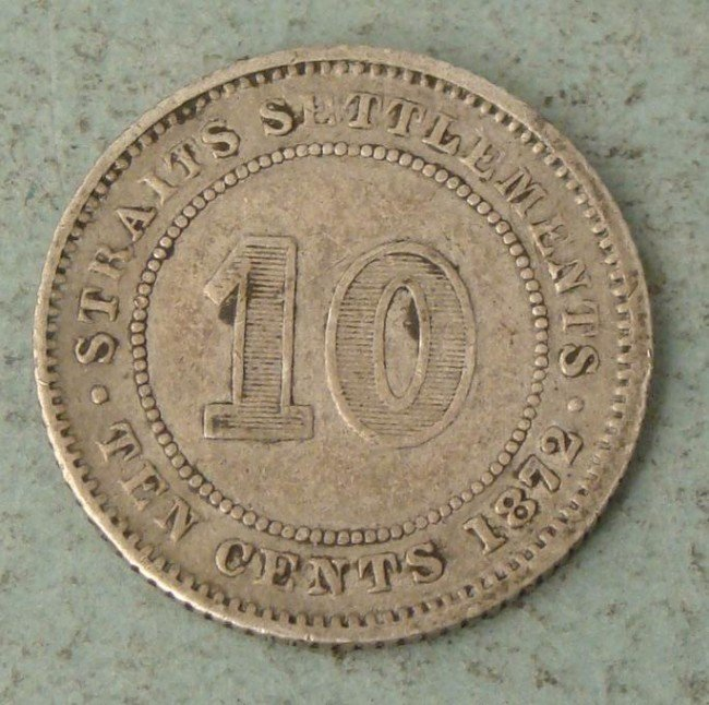 1872 Straits Settlements (Malaysia) Silver 10 Cent Coin