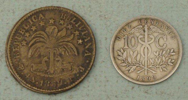 2 Nice Old Coins Bolivia 1857 4 Soles, 1899 10 Centavos