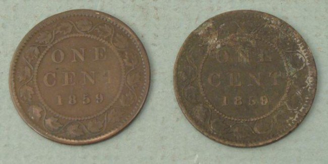 2 Nice 1859 Canadian Canada Large Cents