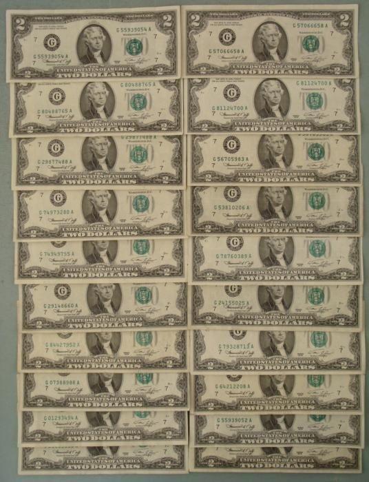 20 1976 G Mint $2 Two Dollar Notes Bills VF+