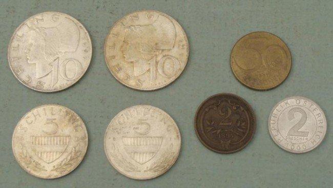 7 Austrian Coins Schilling, Groschen 4 Silver 1957-65
