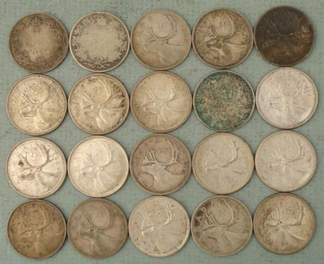 20 Mixed Date Silver Canada Quarters, 2 No Date Early