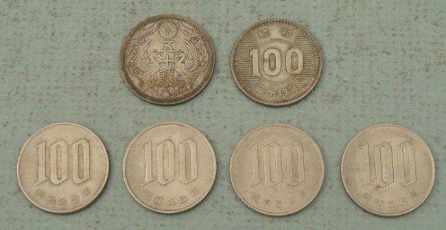 6 Nice Japanese Coins Peacocks Silver Sen Yen 1929-59