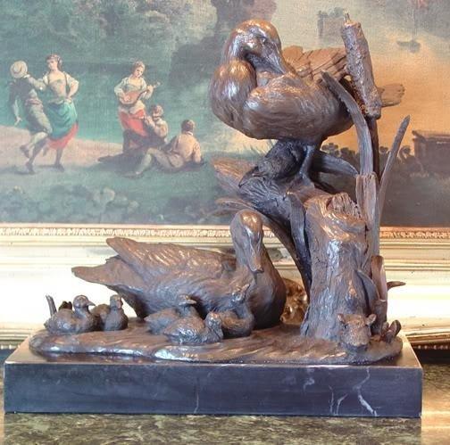 Magnificent Bronze Sculpture Duck Family