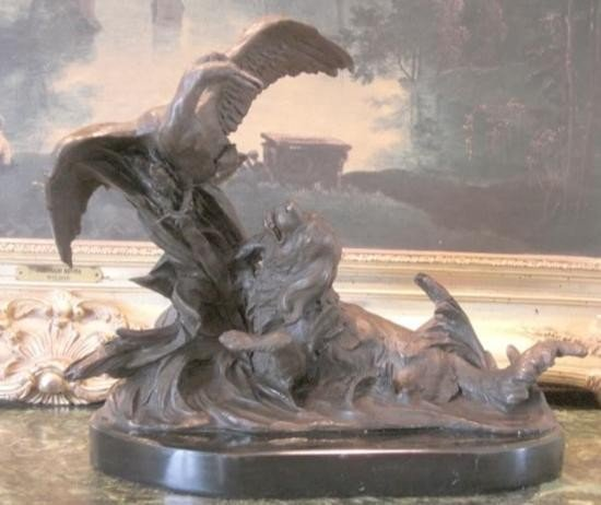 Magnificent Bronze Sculpture Retriever Hunting Dog & D