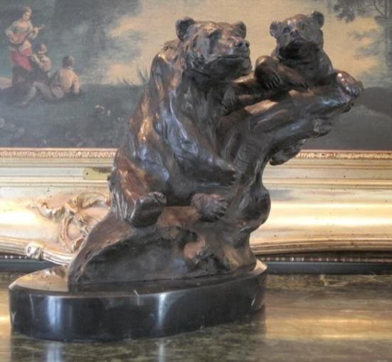 Magnificent Bronze Sculpture Grizzly Bear Mother & Cub