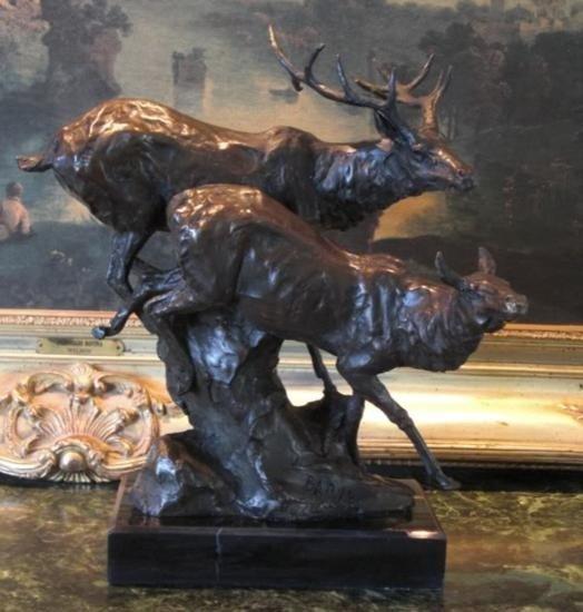 Magnificent Bronze Sculpture Male & Female Elk