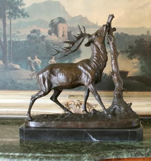 Magnificent Bronze Sculpture Elk & Tree