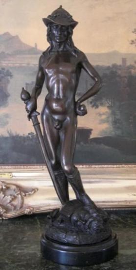 Magnificent Bronze Sculpture David and Goliath