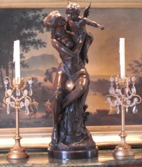 Magnificent Bronze Sculpture Mother Angel and Cherub