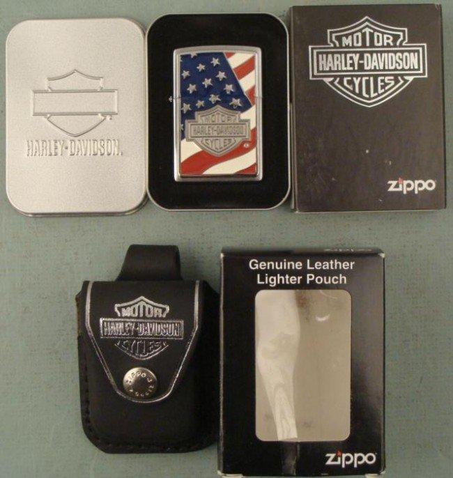 Zippo Harley Davidson Americana Flag Lighter, Pouch MIT