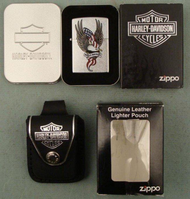 Zippo Harley Davidson Eagle Lighter & Pouch New Mint