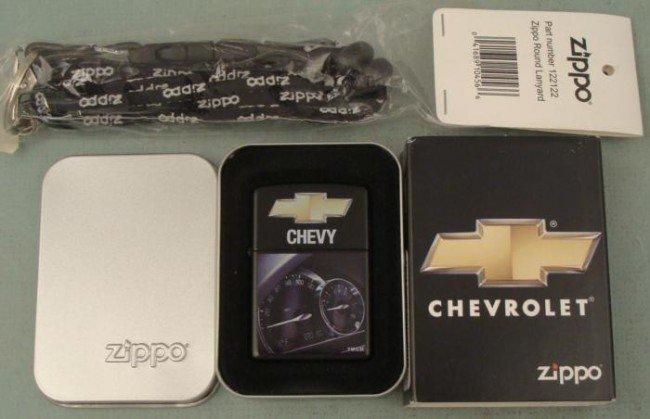 Zippo Chevy Speedometer Lighter New Mint MIT w/ Lanyard